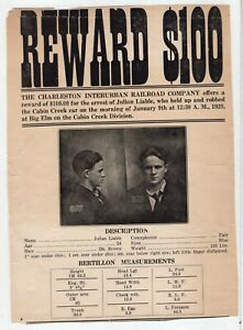 1929 Wanted Poster Train Robber