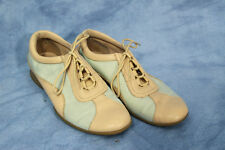 Vintage 80s 90s Kenneth Cole Reaction Sneaker Pale Blue Tan Shoe Bowling Style