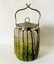 Jugendstil Irisierend Glas Konfekt Deckeldose wohl Pallme König Steinschönau
