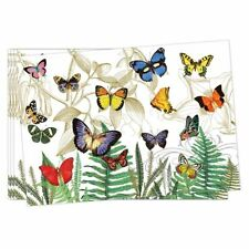 Set / 4 Michel Design Works Cotton Fabric Placemats Papillon Butterflies - NEW