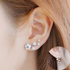 Elegant Jewelry Glaze Shell Flower Pearl Crystal Sliver Sliver Ear Studs Earring