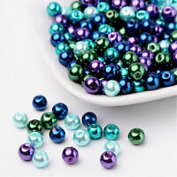 BULK 200 Glass Beads 6mm - Assorted Blue, Green Purple Pearl Finish - BD1473