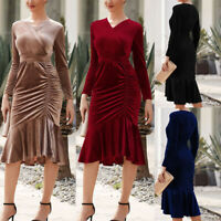 Velvet Dress Womens Long Sleeve Midi Bodycon Ruffle Dress Autumn Winter Women