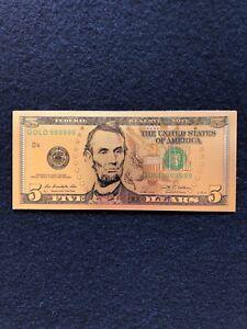 FACSIMILE   2009   U.S.A.    $  5  Dollar  Banknote  Color Gold Foil