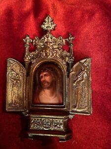 Antique Brass Gothic Frame Painted Enamel Porcelain Miniature Of Christ.