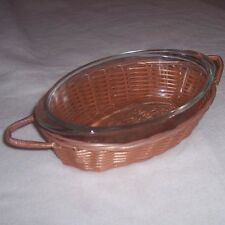 Glasbake Clear Glass 1 Quart Small Casserole Dish Serving Basket Server Carrier