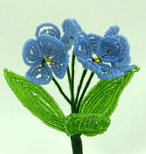 Vintage French Glass Beaded Blue Primrose Flower Bouquet