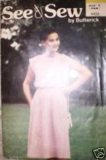 Vintage Butterick SEWING Pattern 1980s Dress UNCUT P S M 6433