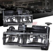 FITS 88-98 CHEVY C/K GMC K1500/K2500/K3500 BLACK CRYSTAL HEADLAMPS+LIGHT BULBS
