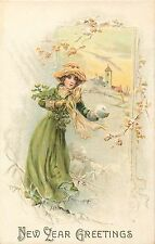 NEW YEAR GREETINGS - BEAUTIFUL WOMAN & SNOWBALL - OLD EMBOSSED POSTCARD