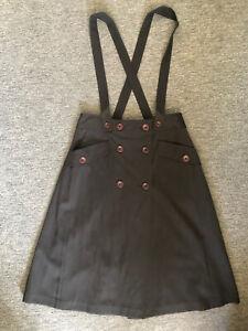 Lindy Hop A Line Dark Grey Wrap Skirt With Braces Size12