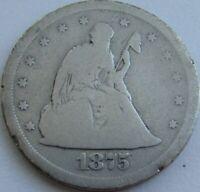 1875-S Twenty Cent Piece - Silver 20C in a SAFLIP® - Good-