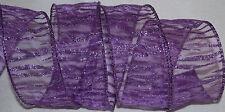 Wired Ribbon~Sheer~Glitz Purple Sparkle Jungle Cat Stripe~Zebra~Safari~Wild~Bow