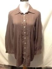 Sacred Threads Womens Tunic Top Brown Free Size Button Front DD12