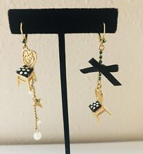 BETSEY JOHNSON Parlor Chair Black White Polka Dot Pearl Mismatched Earrings