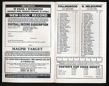 1994 Fosters Cup Collingwood v North Melbourne Football Record Bombers Magpies