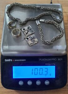 925 Sterling Silver Mixed Jewelry Lot of 100.3g