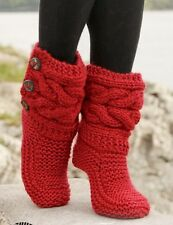 LADIES CHUNKY SNUGG BOOT SLIPPERS KNITTING PATTERN