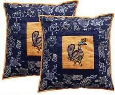 Indha Craft Block Printed Peacock Embroidery Cushion Cover Set Blue (set of 2)