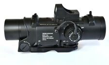 Specter DR 1&4X Zoom Illuminated Cross Hair Rifle Scope with Red Dot on Top.