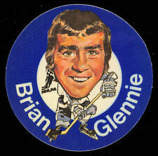1973-74 MAC'S MILK NHL BRIAN GLENNIE MAPLE LEAFS NM CLOTH STICKER HOCKEY DISC