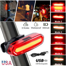 LED Bike Tail Light Rechargeable USB Bicycle Rear Cycling Warning Light 6 Modes