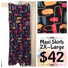 LuLaRoe Maxi Skirt, 2XL, Black with abstract Window print  NWT