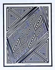 ORIGINAL INK DRAWING Op Art - Artist Signed - Unique Modern Contemporary 16x20