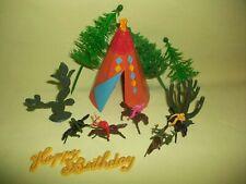 RARE Vintage Cake Decorations Indians Tee Pee Cowboys Cactus Trees