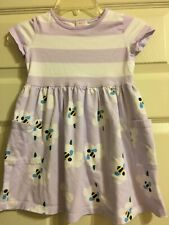 Hanna Andersson Purple and White Striped Bee Dress Girls Size 100 4