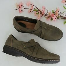 Womens CLARKS Ideo Chilly Olive Green Leather Shoes sz 9 M Slip On Loafers