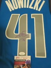 DIRK NOWITZKI SIGNED DALLAS MAVERICKS  JERSEY JSA, GORGEOUS SIGNATURE.