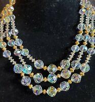 """vintage VENDOME cut crystal bead Aurora Borealis necklace 3 strands  15-17.5"""""""