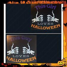 LOVE HALLOWEEN HIS & HERS EMBROIDERED SET OF 2 BATHROOM HAND TOWELS by laura