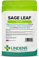 Sage Leaf 500mg 100 Tablets Menopause Health Hot Flushes Sweats Hormone Lindens