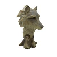 Wolf Head Bust Handmade Statue Figure Animal Safari