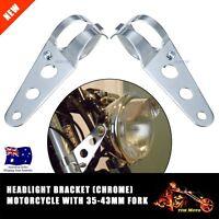 Universal Motorcycle Headlight Head Lamp Mount Bracket Chrome Motorbike 35-43MM