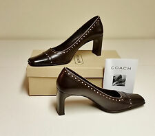Coach Brown/Tan Classic Leather Pumps Shoes Size 7 1/2 B / 7.5 M - NIB