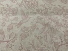 Calamine  Birds Toile Linen/Cotton pink 140cm wide Curtain/Upholstery Fabric