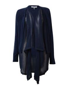 DKNYC Women's Crepe Trim Draped Knit Cardigan (S, Nightfall)
