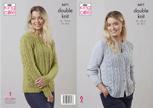 King Cole Double Knit Knitting Pattern Ladies Lace Detail Cardigan Sweater 5671