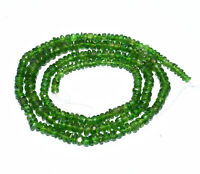 """AA++ Natural Green Chrome Diopside 3 to 4 MM Rondelle Faceted Beads 5"""" Strand"""