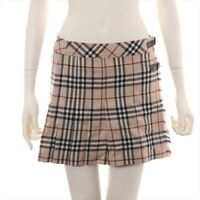 Burberry Blue Label Wool Skirt 38 Ladies Beige Nova Check