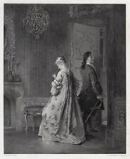 """Outstanding 1800s Pancraz KORLE Engraving """"The Domestic Tiff"""" Framed SIGNED COA"""