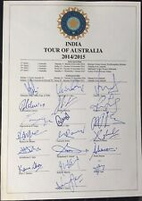 India 2014/15 Test Cricket Signed sheet, Australia tour Virat Kohli, Dhoni, etc