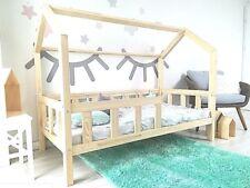 Kinderhaus Natur Kinderbett 100 X 200 Cm aus Holz Hausbett Spielbett holz bett