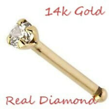 NEW-GENUINE DIAMOND SOLID 14k GOLD NOSE BONE -
