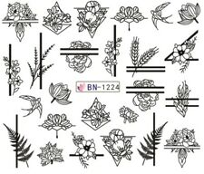 Nail Art Stickers Water Decals Black Flowers Lines (BN1224)