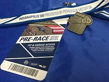 Indy 500 2017 SILVER PIT BADGE 101st Race W/ BACKER & LANYARD Takuma Sato Wins