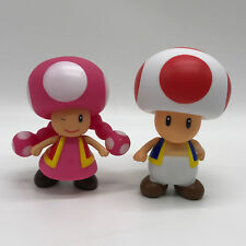 2X New Super Mario Bros. Collectible Toad & Toadette PVC Plastic Figure Toy 4""